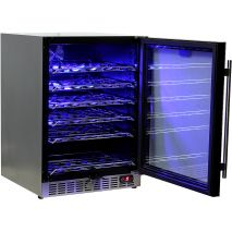 Under Bench Glass Door Wine Fridge Soft Blue Led Lights