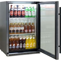 Schmick Black Stainless Steel Alfresco Drinks Fridge SK118R-BS