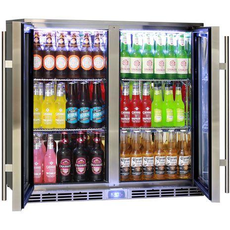 Rhino 2 Door Alfresco Outdoor Glass Door Bar Fridge  Model GSP2H-SS rev angle