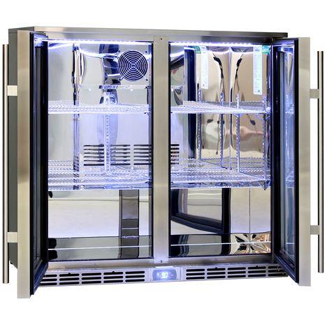 Rhino 2 Door Alfresco Outdoor Glass Door Bar Fridge  Model GSP2H-SS chrome shelving