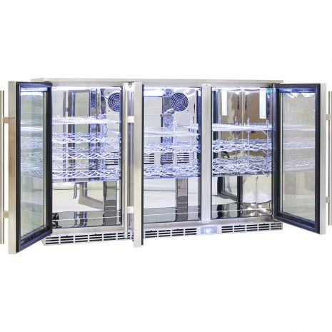 Rhino 3 Door Alfresco Outdoor Glass Door Bar Fridge Model GSP3H-SS shelving