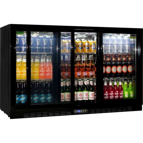Rhino 3 Sliding Doors Commercial Bar Fridge Polished 304 S/S Interior And Special LOW E Glass To Prevent Condensation