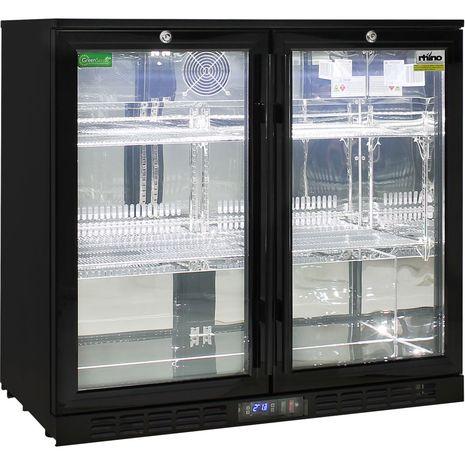 Rhino 2 Door Commercial Glass Door Bar Fridge  - Polished 304 Stainless Steel Interior