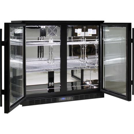 Rhino 2 Door Commercial Glass Door Bar Fridge  - Fully Adjustable Shelving, Led Lighting