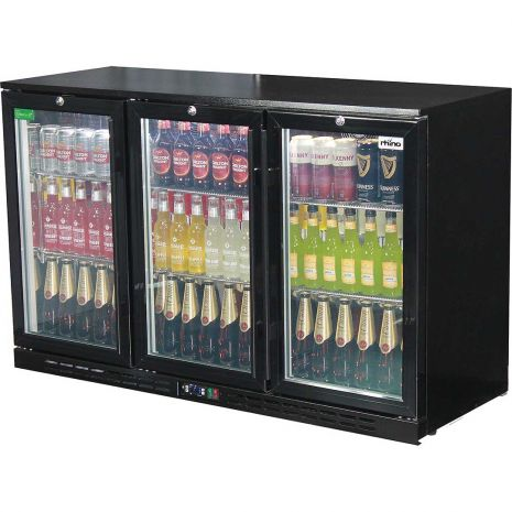 Rhino 3 Door GSP Commercial Black Under Bench Glass Door Bar Fridge Model SG3H-B