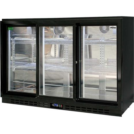 Rhino 3 Sliding Doors GSP Commercial Black Under Bench Glass Door Bar Fridge Model SG3S-B angle