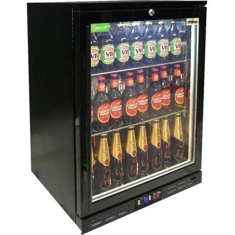 Rhino 1 Door GSP Commercial Black Under Bench Glass Door Bar Fridge Model SG1H-B