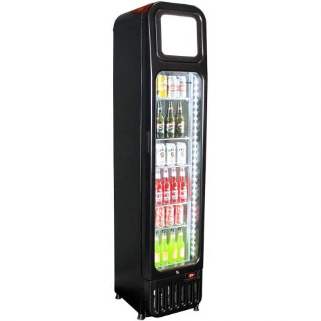 Skinny Tall Upright Bar Fridge With Glass Door Model BR-125