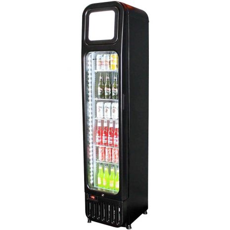 Skinny Tall Bar Fridge With Glass Door Model BR-125 Angle
