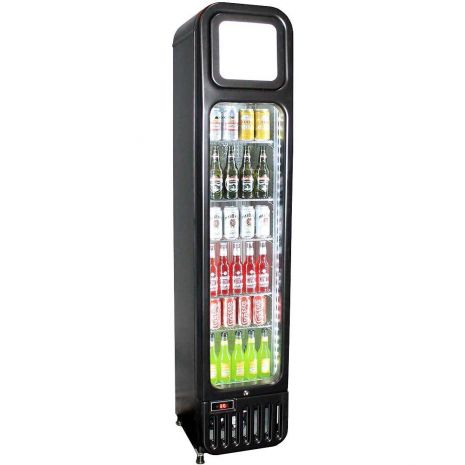 Skinny Tall Bar Fridge With Glass Door Model BR-125 Side