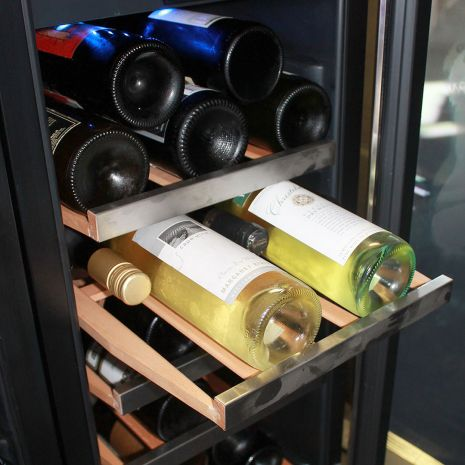 Wine and Beer Glass Door Under Bench Fridges Matching Slide Out Wine