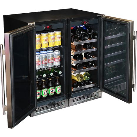 Wine and Beer Glass Door Under Bench Fridges Matching