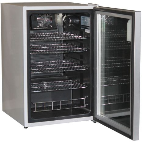 Husky CN130-Silver Glass Door Bar Fridge Open