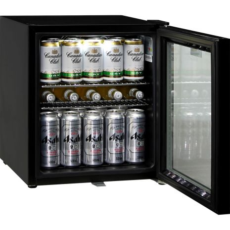 Glass Door Black Bar Fridge - Low E Glass To Prevent Condensation