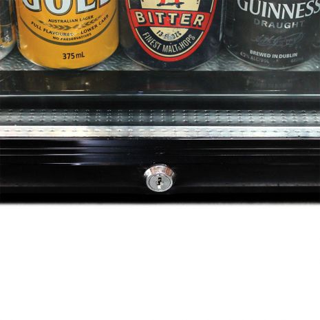 Glass Door Black Bar Fridge Model EC50 lock