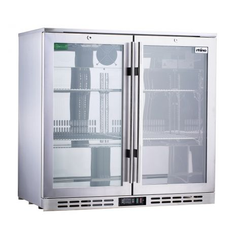 Rhino 2 Door Triple Glass Door Bar Fridge Model SG1R-SS Left Hinged
