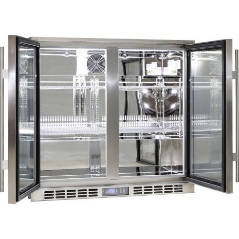 Rhino 2 Door Triple Glass Door Bar Fridge - All 304 Stainless, With Polished Stainless Interior