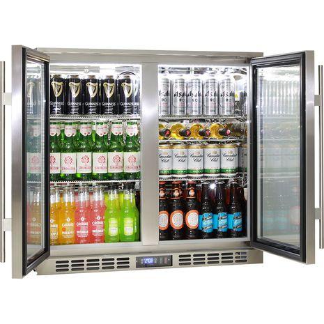 Rhino 2 Door Triple Glass Door Bar Fridge - Adjustable Shelving, See Wine Shelf In This Picture
