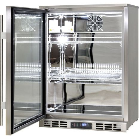 Rhino 1 Door Triple Glass Door Bar Fridge - All 304 S/Steel With Polished Stainless Interior