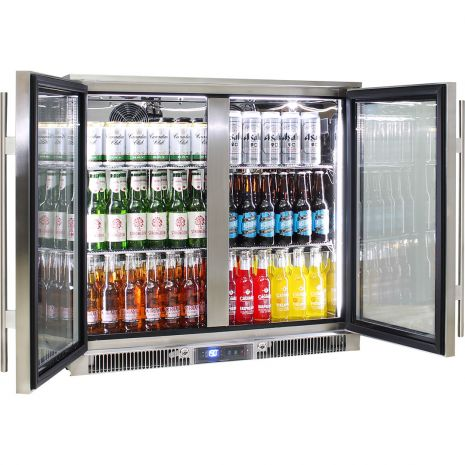 Rhino Envy 2 Door Bar Fridge - German Quality Fans, German Danfoss Controller, Energy Efficient, 316 S/S, Quiet, Excellent In 40oC