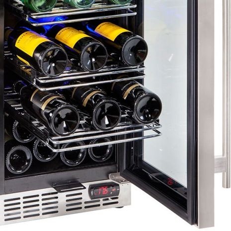 Glass Door Wine Fridge With Seamless SS Door Hinge
