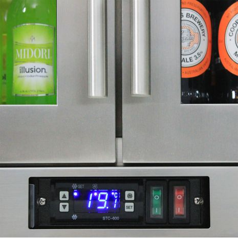 Rhino 2 Door Triple Glass Door Bar Fridge - Electronic Controller, Light and On/Off Switch Easy Access