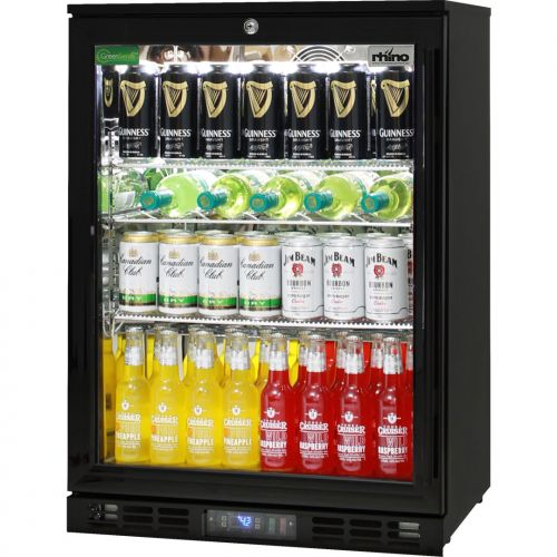 Rhino 1 Door GSP Commercial Black Under Bench Glass Door Bar Fridge Model SG1HL-B