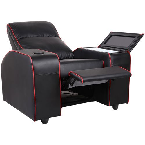 Red Trim Recliner Chair With Bar Fridge