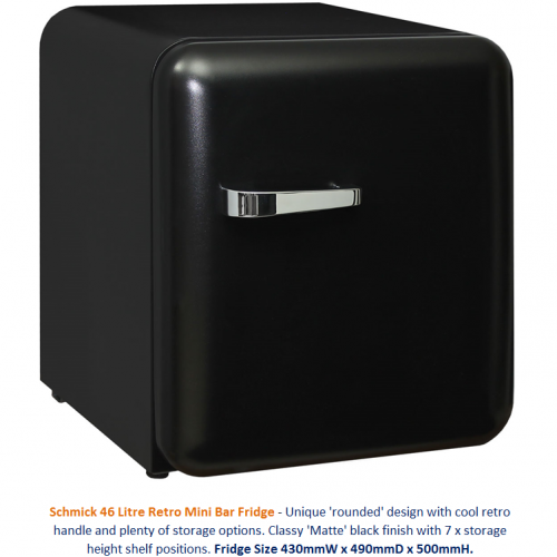 Schmick Black Mini Retro Bar Fridge Model HUS-RND46B