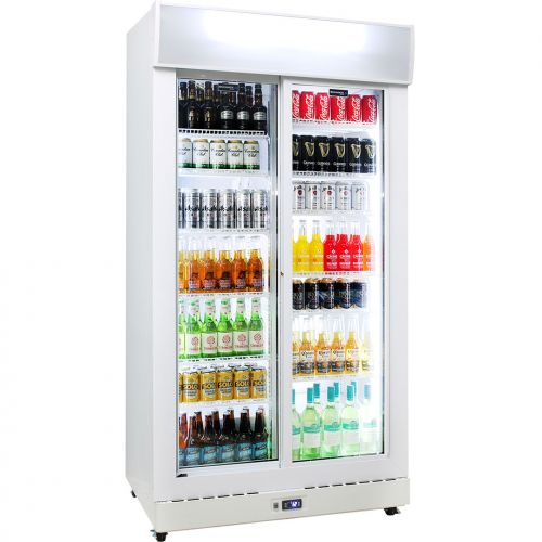 Schmick Upright Sliding 2 Door Commercial Glass Front Bar Fridge