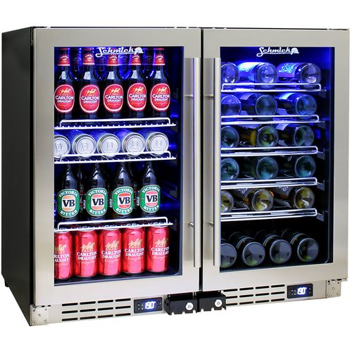 Under Bench Glass Door Beer And Wine Fridge Schmick JC95-Combo